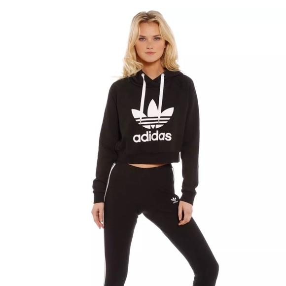 a72ebfebe62e8c NWT Adidas Trefoil Crop Hoodie M